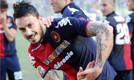 Mauricio Pinilla of Cagliari celebrates after scoring his second goal in the win over Inter