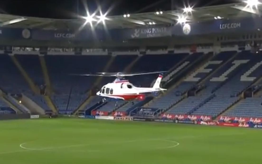 Elicottero Privato : Premier leicester il presidente arriva allo stadio in