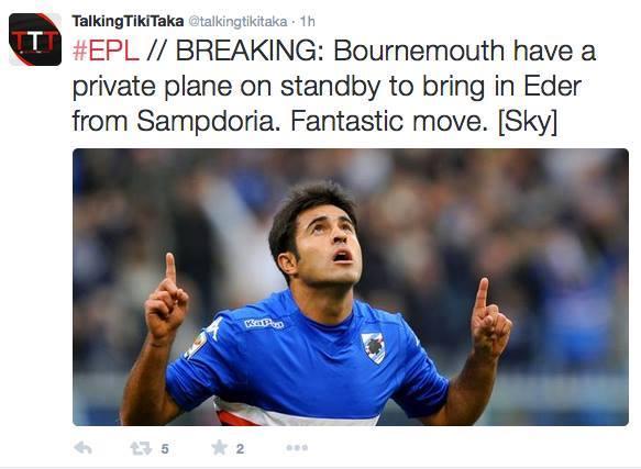 Aereo Privato Ac Dc : Sampdoria il bournemouth su eder pronto un aereo privato