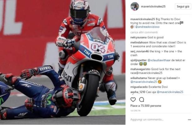 MotoGp, che rischio per Vinales: il pilota della Yamaha ringrazia Dovizioso [FOTO]