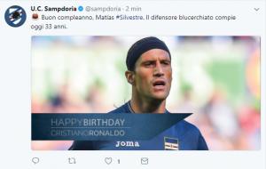 Sampdoria, è il compleanno di Silvestre ma gli auguri vanno a Ronaldo: che gaffe! [FOTO]