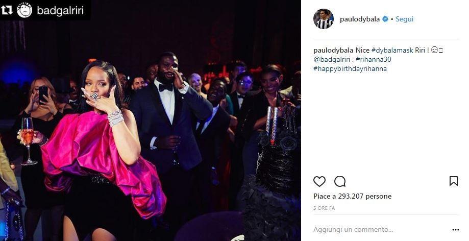 Rihanna 'imita' la Dybala Mask e la Joya fa i complimenti alla popstar [FOTO]