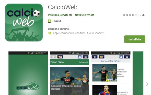App CalcioWeb