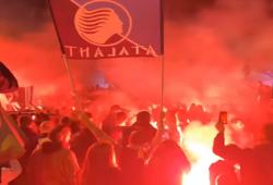 Atalanta, grande festa e delirio dei tifosi al rientro della